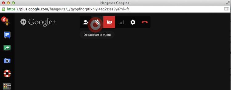 Capture: Désactiver le micro dans Google Hangout